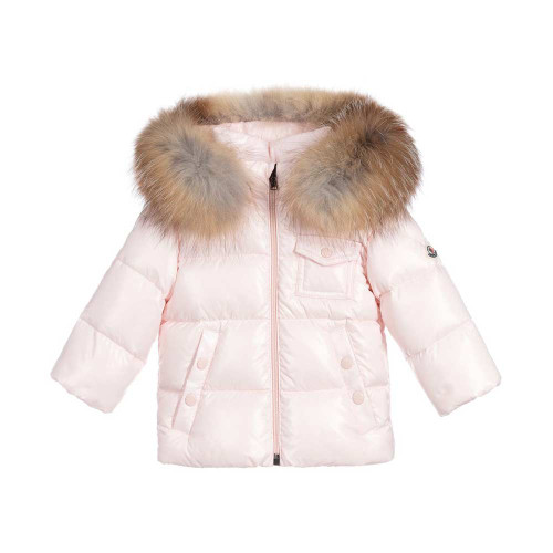 Warm and lightweight for baby girls, this pale pink K2 Moncler Enfant jacket has luxury down padding.