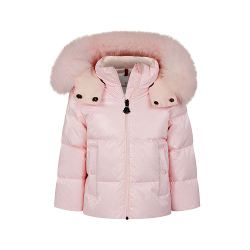 Pink down padded puffer coat for baby girls by Moncler Enfant. This luxury design features a fur trim, which is removable.