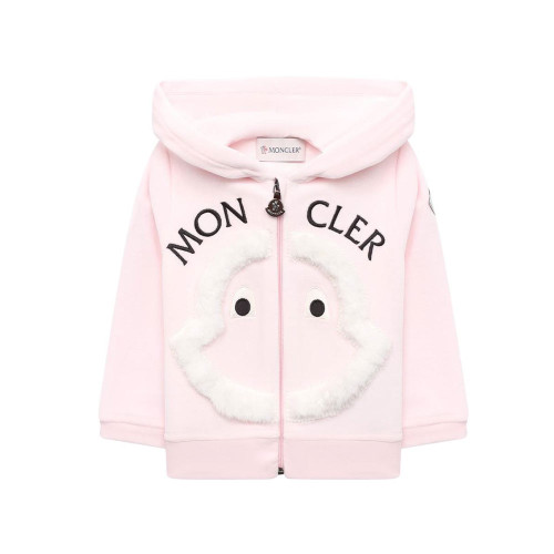 Pink embroidered logo hoodie for girls.