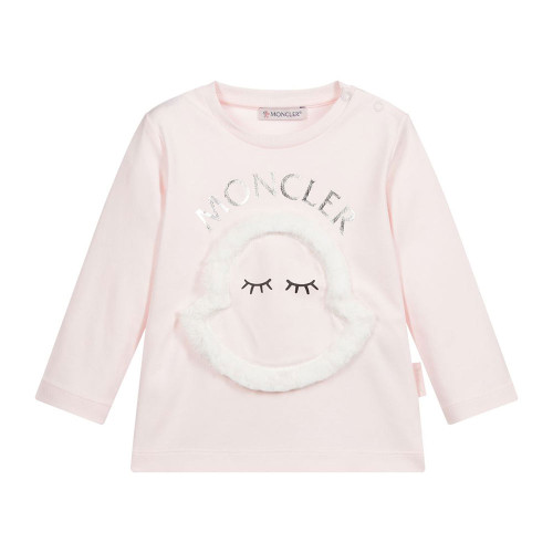 Sweet for younger girls, a pink cotton jersey top by Moncler Enfant.