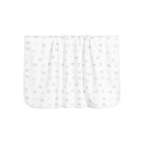 White blanket by Kissy Kissy for baby boys and girls. It is made in a double layer of super soft Pima cotton jersey, with a cute elephant and umbrella print in grey, blue and yellow.