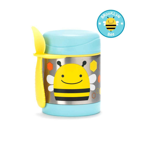 This colorful stainless steel container keeps kid-sized portions warm or cold.