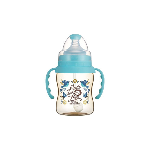 Simba Handle Wonderland PPSU Wide Neck Feeding Bottle(200) Blue
