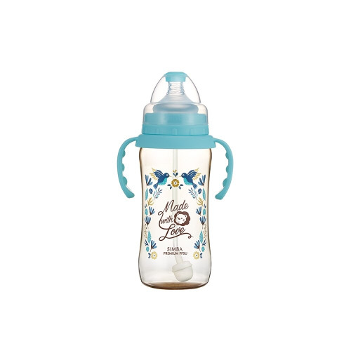 Simba Handle Wonderland PPSU Wide Neck Feeding Bottle(360ML) Blue