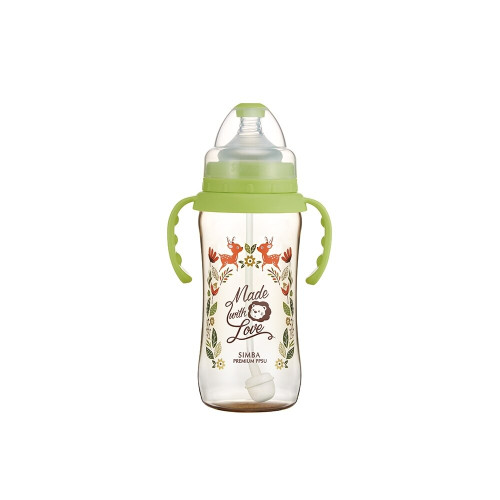 Simba Handle Wonderland PPSU Wide Neck Feeding Bottle(360ML) Green