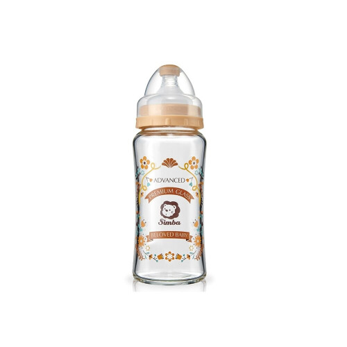 Simba Romance Wide Neck Glass Feeding Bottle 270ml Brown