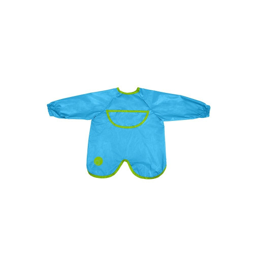 New smock bib has mealtimes covered, at home or on the go! Unique waterproof design covers all over, including legs when seated.