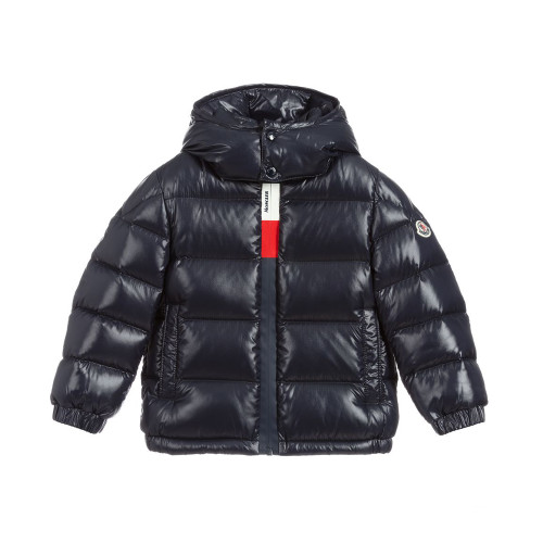 Boys navy blue puffer style jacket by Moncler Enfant, made from the brand's iconic water-repellent shiny nylon.