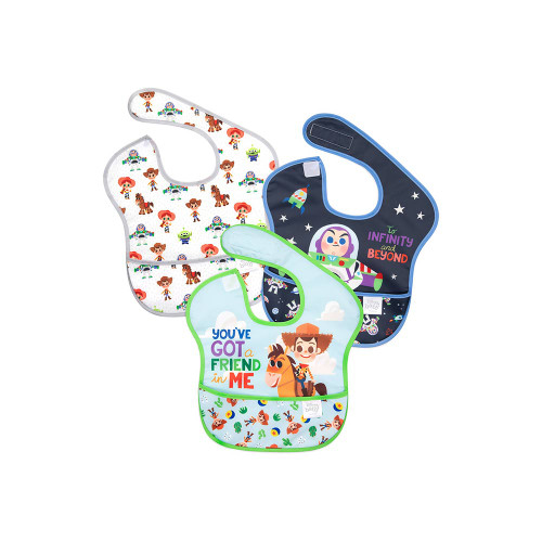 The bibs attach over the back of the shoulder with hook and loop closure for a quick, adjustable and tug-proof fit.