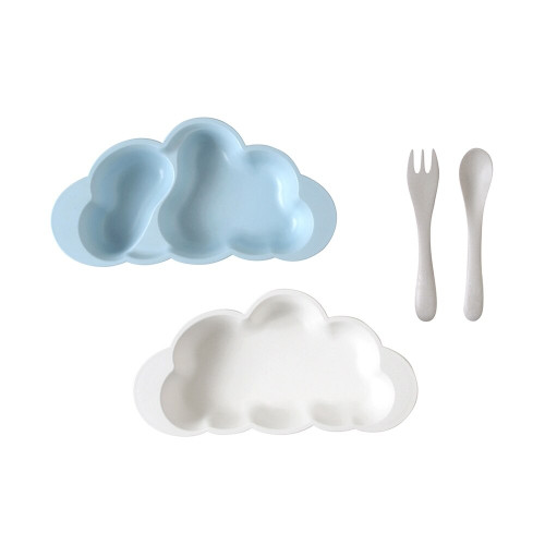 It is a set with cutlery attached to one plate and one dividing plate.