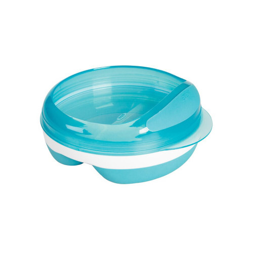 KEEPS TWO TYPES OF BABY FOOD SEPARATED IN ONE STORABLE DISH