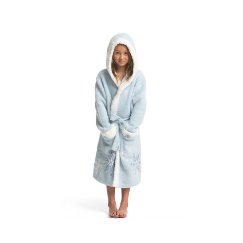 Barefoot Dreams Youth Robe Ice Blue Multi 6/7