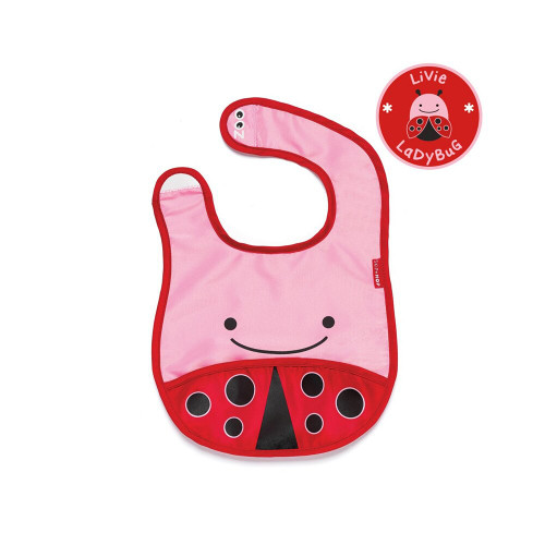 Zoo Baby Bibs are lightweight and water-resistant with a handy catch-all pocket to keep things neat and tidy at mealtime.