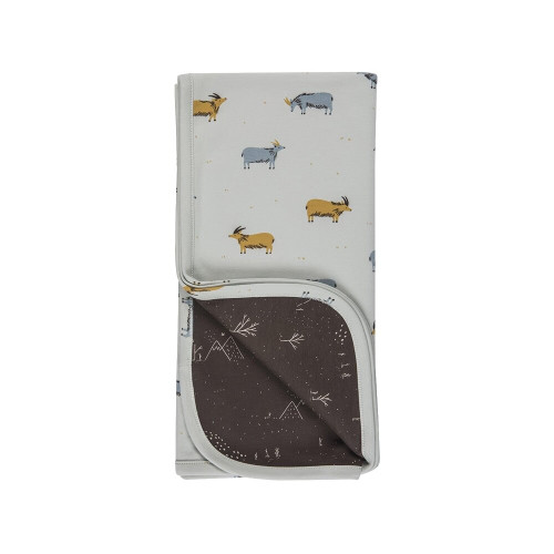 Red Caribou Double sided blanket F/W19 Golden blue - SKY GRAY
