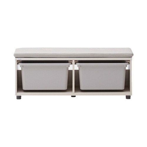It is a storage bench with high space utilization due to its convenient size and height.