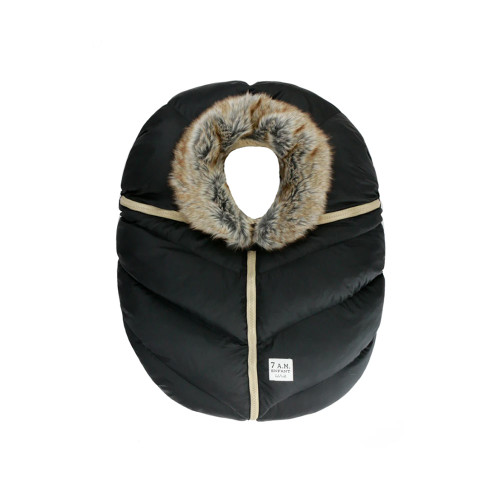 7AM Enfant Carseat Cocoon Black Faux Fur