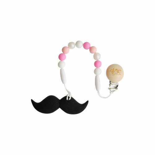 Glitter & Spice 100% Silicone Teether Emmalyn Moustache