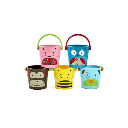 Perfectly sized for little hands, these colorful buckets provide endless tubtime play while helping to build motor skills.
