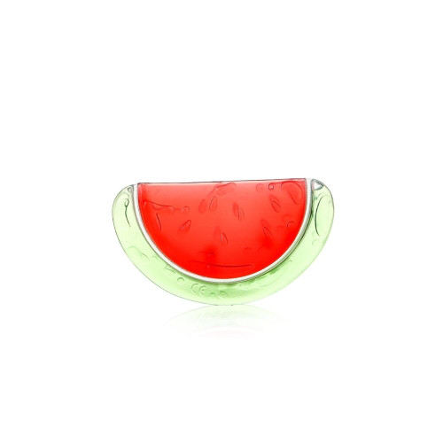 The watermelon shape creates interest and soothes gums. It can provide more relief if it is first placed in the refrigerator to cool.