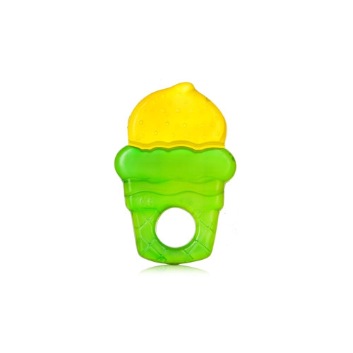 The ice cream shape creates interest and soothes gums. It can provide more relief if it is first placed in the refrigerator to cool.