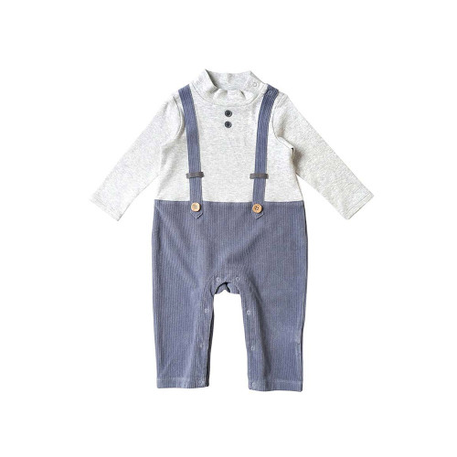 A coverall that can be coordinated with a single piece that combines a mock neck top and suspender pants.