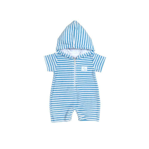 Little whales swim on this cover up romper. The hoodie is made from a pink/blue and white striped cotton terry fabric with short sleeves.