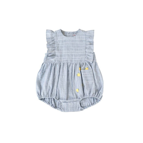 Embroidered ruffle romper with strawberry spilling from pocket
