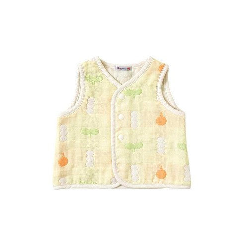 It is a baby vest of six-piece gauze, it is soft and has breathability and heat retention.