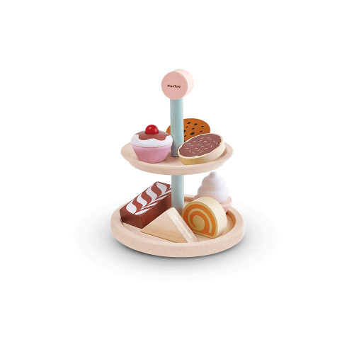 The set consists of 1 two-tier cake stand, 1 sandwich, 1 slice of Swiss roll, 1 chocolate cake, 2 biscuits, and 2 cupcakes.