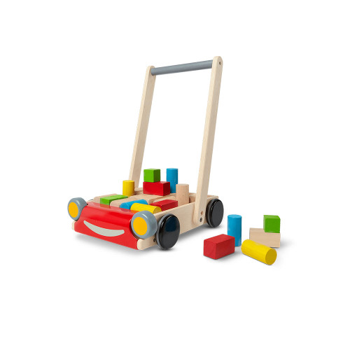 Cruise through the walking stages! Includes 13 color and 11 natural blocks. Handle adjustable to fit various heights.