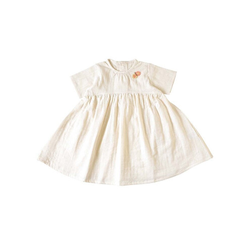 W gauze dress with butterfly on the chest