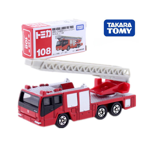 Takara Tomy Tomica No.108 Hino Aerial Ladder Fire Truck Scale 1/139 Car Hot Pop Kids Toys Motor Vehicle Diecast Metal Model