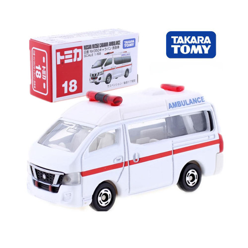 Takara Tomy Tomica NO.18 Nissan NV350 Caravan Ambulance 1/56 Diecast Metal Car Vehicle Model Kids Toys Collection Gift