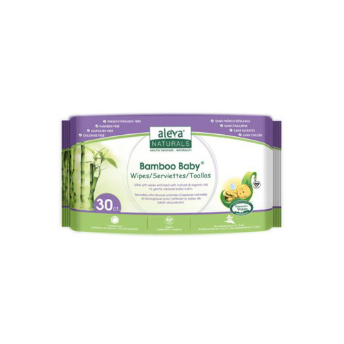 Aleva Naturals Bamboo Baby Wipes are specially formulated for baby's sensitive and delicate skin. The combination of Organic Aloe Vera, Chamomile, Natural Tea Tree Oil and Lavender Oils gently cleanses, soothes and leaves your baby's skin feeling silky smooth.