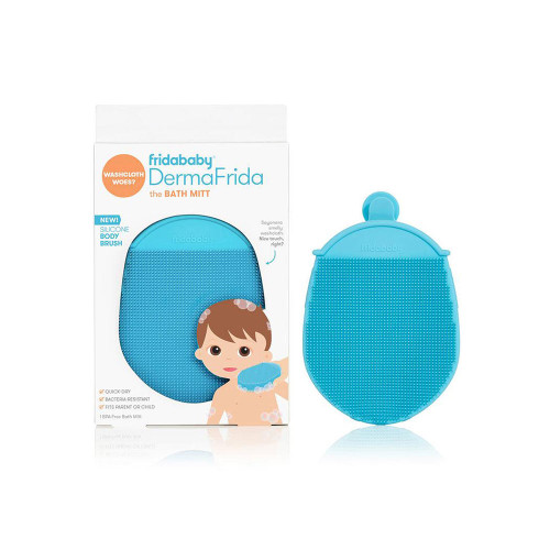 DermaFrida the Bath Mitt fits little paws AND big hands so your kiddo can practice good hygiene, then you can take over to get 'em squeaky clean.