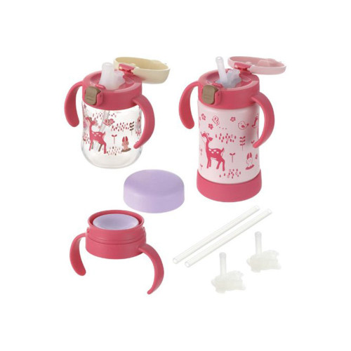 Richell Try Step Up Mug Set Premium Pink