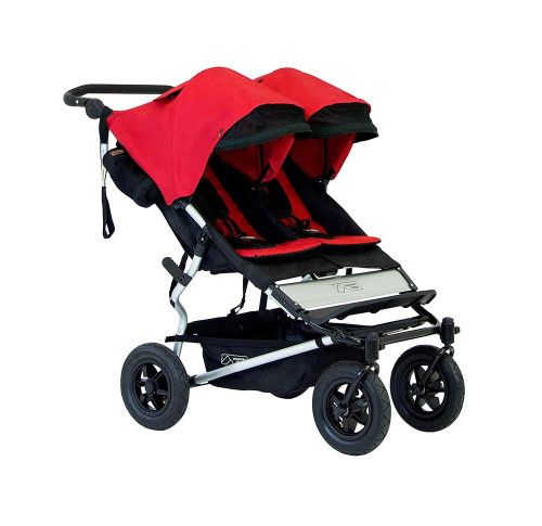 The most compact, fully featured, all-terrain side-by-side double stroller in the market that is the same width as a single stroller.