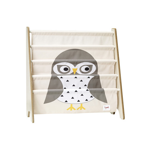 3 Sprouts Book Rack Owl/Gray