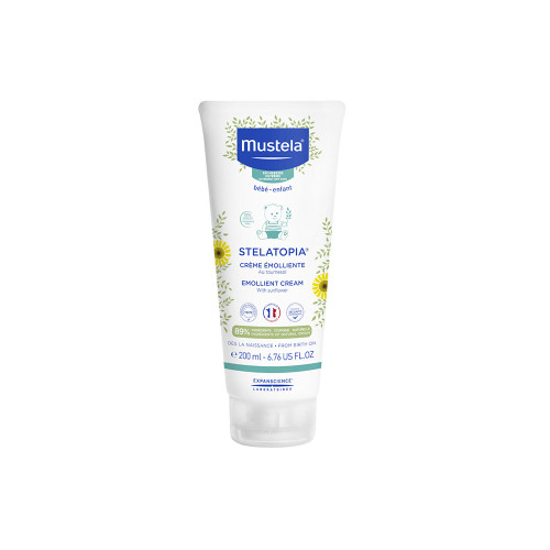 Stelatopia Emollient Baby Cream's fragrance-free formula and rich texture immediately soothe children with atopy-prone skin. It delivers long lasting hydration and soothes the itchy feeling on irritated skin areas. Body and face. Suits newborns*.