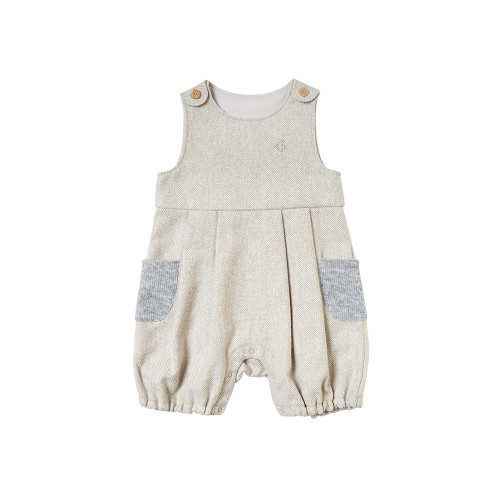 Overalls with Bird embroidery on the chest and knit pockets on both sides.