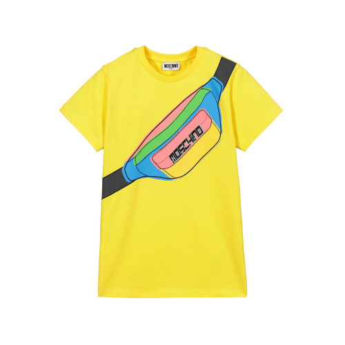 Yellow cotton jersey T-shirt for teen boys by Moschino Kid-Teen, in a regular slim fit