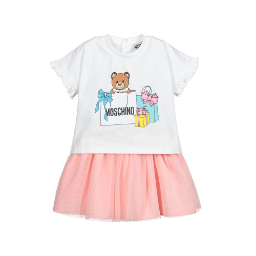 Skirt and T-shirt set for little girls by Moschino Baby, made in soft and stretchy cotton jersey.