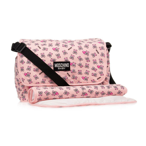 Unstructured, lightly padded pink changing bag by Moschino Baby, patterned with pink Moschino Teddy Bears
