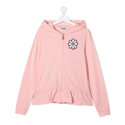 TEEN flower embroidery zip-up hoodie for your girl.