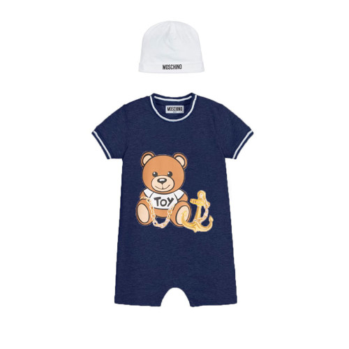 Navy blue shortie and white hat set by Moschino Baby, made in soft cotton jersey.