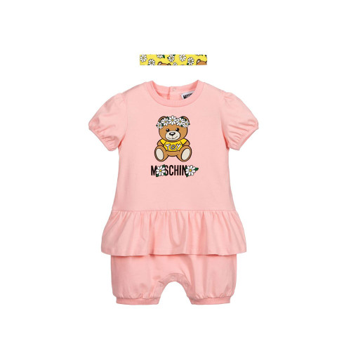 Sweet pink Moschino Baby shortie set for girls, made in soft cotton jersey with a ruffle trim.