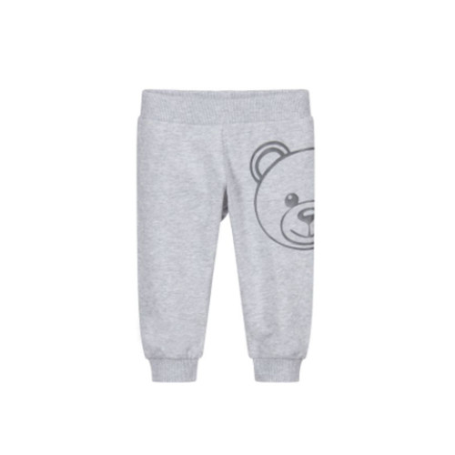 A grey cotton Sweatpants for boys & girls by Moschino Baby.
