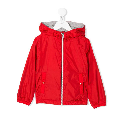 Red hooded jacket from Moncler Enfant featuring long sleeves, a hood and silver-tone hardware.
