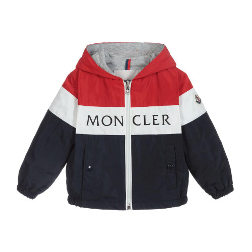 Red, white and navy blue 'Dard' windbreaker jacket by Moncler Enfant. Silky and lightweight, the jacket has a fixed hood, front zip fastening and popper closing side pockets. It has elasticated wrist cuffs and a logo badge on one sleeve.