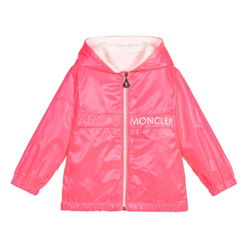 Neon pink, hooded jacket for little girls by luxury French brand Moncler Enfant.